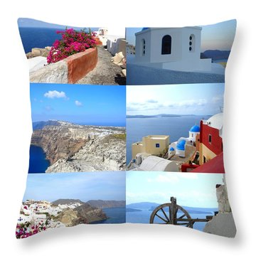 Throw Pillow featuring the photograph Memories From Santorini by Ana Maria Edulescu