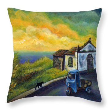 Memories Neath A Yellow Sky Throw Pillow by Retta Stephenson