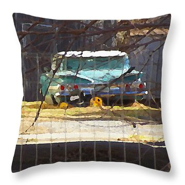 Memories Of Old Blue, A Car In Shantytown.  Throw Pillow