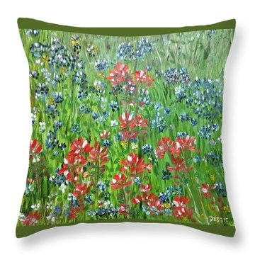 Throw Pillow featuring the painting Memories Of Texas Everythings Better With Blue Bonnets On It by Debbie