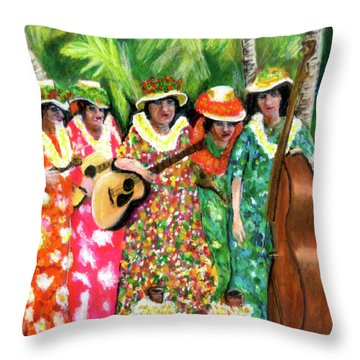 Memories Of The Kodak Hula Show At Kapiolani Park In Honolulu #20 Throw Pillow by Donald k Hall