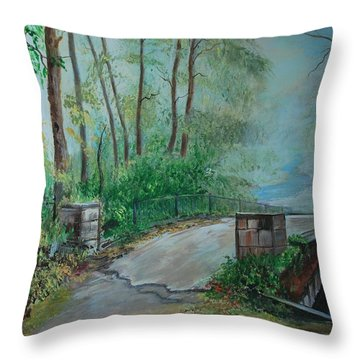 Throw Pillow featuring the painting Memory Bridge by Leslie Allen