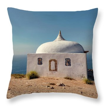 Memory Chapel Monastery On The Cliffs Of Cabo Espichel Sesimbra  Throw Pillow by Menega Sabidussi