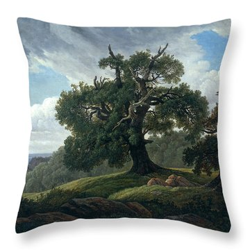 Memory Of A Wooded Island In The Baltic Sea. Oak Trees By The Sea  Throw Pillow