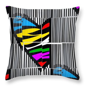 Memory Popart Heart By Nico Bielow  Throw Pillow