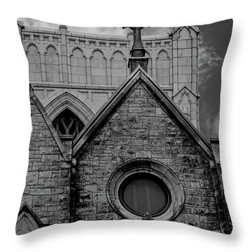 Memphis Cross In The Clouds Bw Throw Pillow