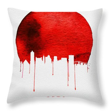 Memphis Skyline Red Throw Pillow