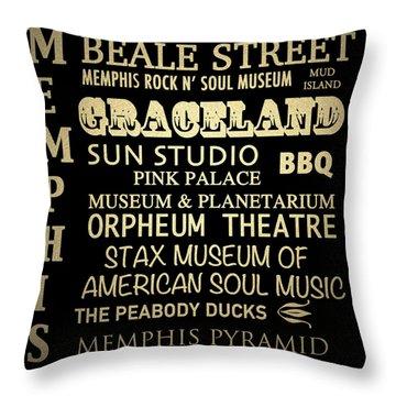 Memphis Tennessee Famous Landmarks Throw Pillow