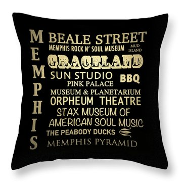 Memphis Tennessee Famous Landmarks Throw Pillow