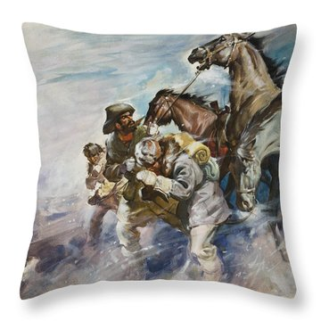 Men And Horses Battling A Storm Throw Pillow by James Edwin McConnell