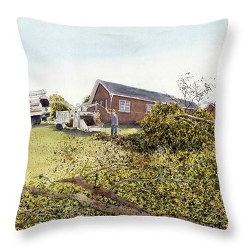 Throw Pillow featuring the painting Men At Work by Joel Deutsch
