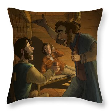 Men In A Hut Throw Pillow