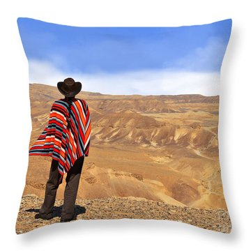 Man In A Poncho In The Desert Throw Pillow