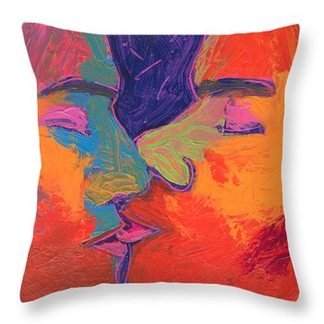 Men Kissing Colorful 2 Throw Pillow by Shungaboy X