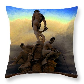 Men Of Greece Throw Pillow by David Lee Thompson