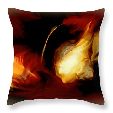 Throw Pillow featuring the mixed media Menage A Trois by Lynda Lehmann