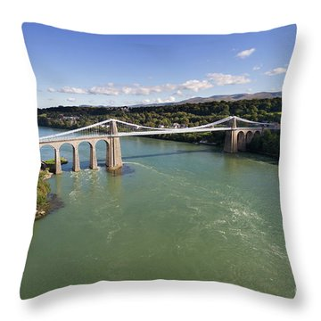 Menai Bridge 1 Throw Pillow by Steev Stamford