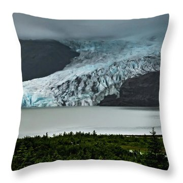 Throw Pillow featuring the photograph Mendenhall Glacier by Ed Clark