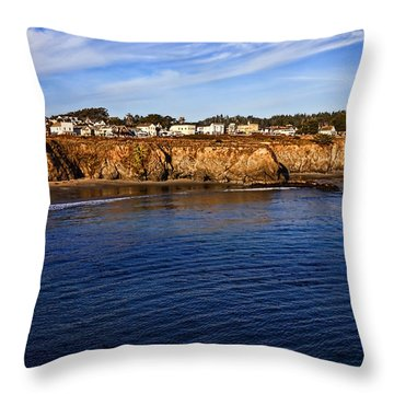 Mendocino Coastal Town Throw Pillow by Garry Gay