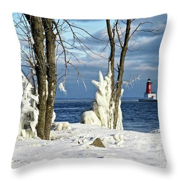 Menominee Lighthouse Ice Sculptures Throw Pillow