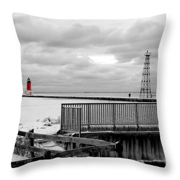 Throw Pillow featuring the photograph Menominee North Pier Lighthouse On Ice by Mark J Seefeldt