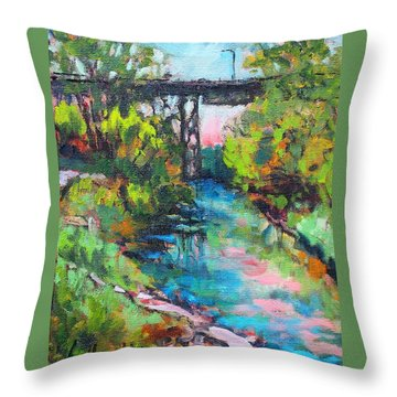 Throw Pillow featuring the painting Menominee Viaduct by Les Leffingwell