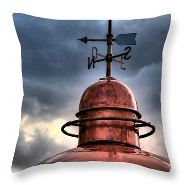 Menorca Copper Lighthouse Dome With Lightning Rod Under A Bluish And Stormy Sky And Lightning Effect Throw Pillow