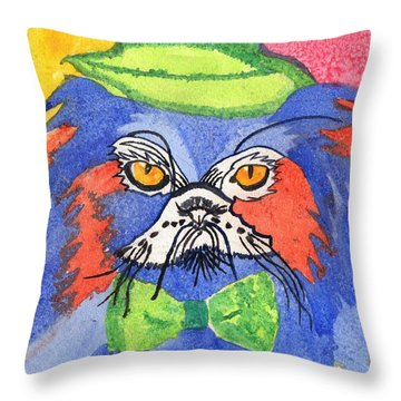 Meow Throw Pillow by Connie Valasco