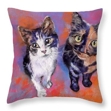 Meow Mix Throw Pillow by Julie Maas