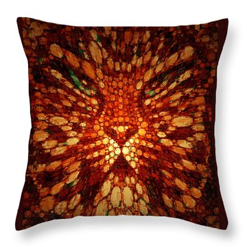Throw Pillow featuring the digital art Meow by Paula Ayers