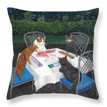 Meowjongg - Cats Playing Mahjongg Throw Pillow