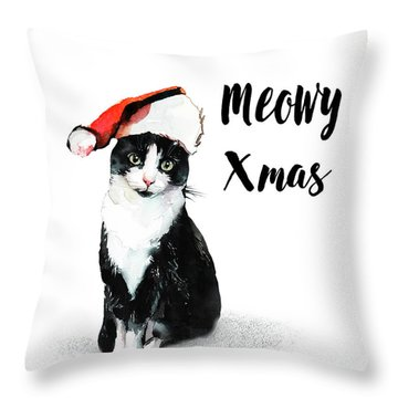 Throw Pillow featuring the painting Meowy Xmas by Colleen Taylor