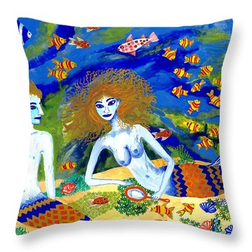 Mer Quarrel Throw Pillow by Sushila Burgess