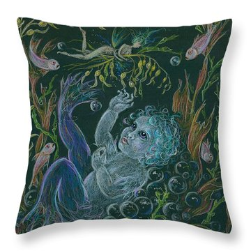 Merbaby Blue Throw Pillow
