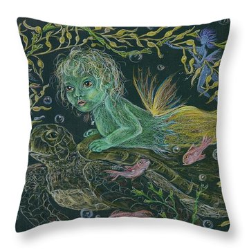 Merbaby Green Throw Pillow