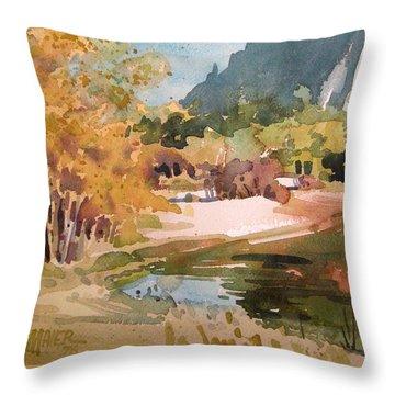 Merced River Encounter Throw Pillow by Donald Maier