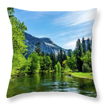 Merced River In Yosemite Valley Throw Pillow