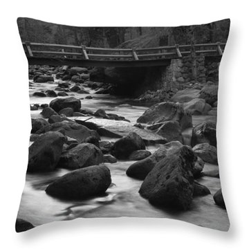 Merced River Wood Bridge Throw Pillow