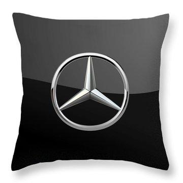 Mercedes-benz - 3d Badge On Black Throw Pillow