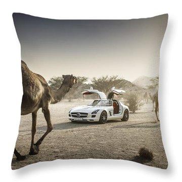 Mercedes Benz Sls Amg Camels Throw Pillow