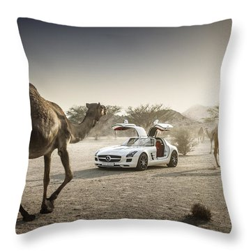 Mercedes Benz Sls With Camels In Saudi Throw Pillow