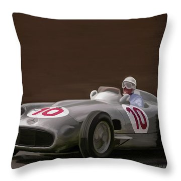 Mercedes-benz W196 Number 10 Throw Pillow by Wally Hampton