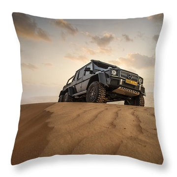 Mercedes G63 6x6 In Oman Desert Throw Pillow
