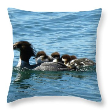 Merganser And Her Chicks Throw Pillow