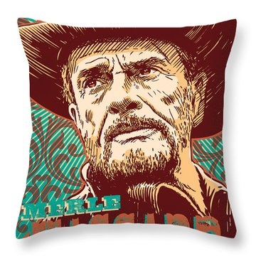 Merle Haggard Pop Art Throw Pillow
