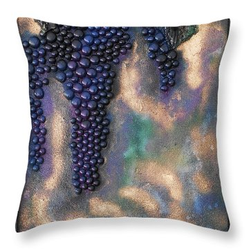 Merlot Grapes Throw Pillow by Angela Stout