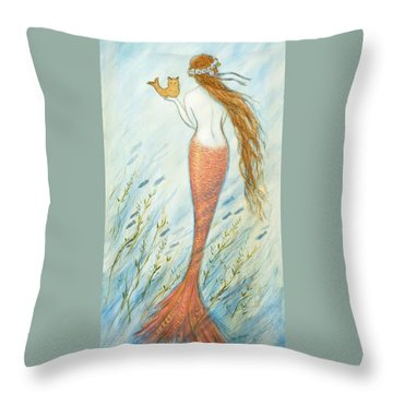Mermaid And Her Catfish, Goldie Throw Pillow
