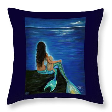 Throw Pillow featuring the painting Mermaid And Her Daughter by Leslie Allen