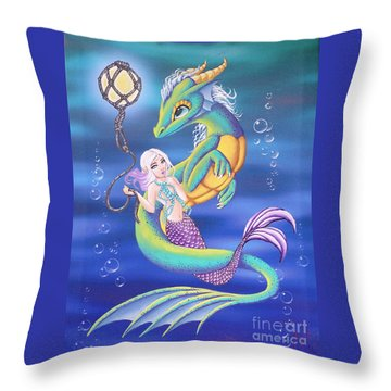 Mermaid And Sea Dragon Throw Pillow