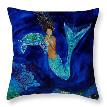 Mermaid And The Sea Turtle Throw Pillow by Leslie Allen